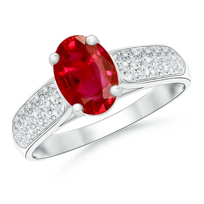 Solitaire Oval Ruby Ring with Pave Diamond Accents - Angara.com