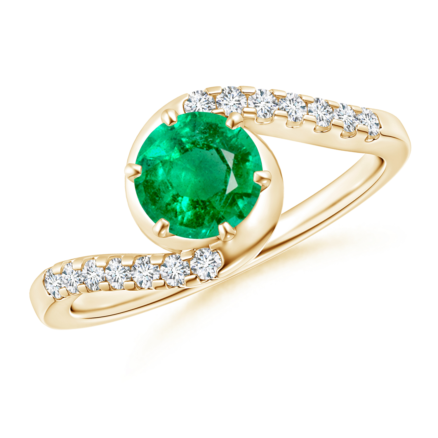 Prong Set Emerald Bypass Ring with Diamond Accents - Angara.com