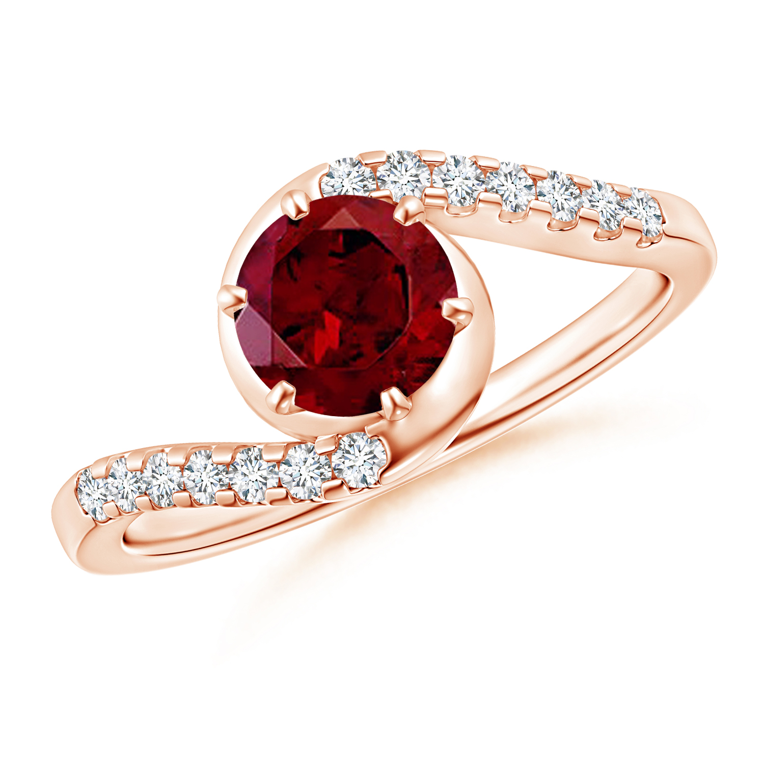 Prong Set Garnet Bypass Ring with Diamond Accents - Angara.com