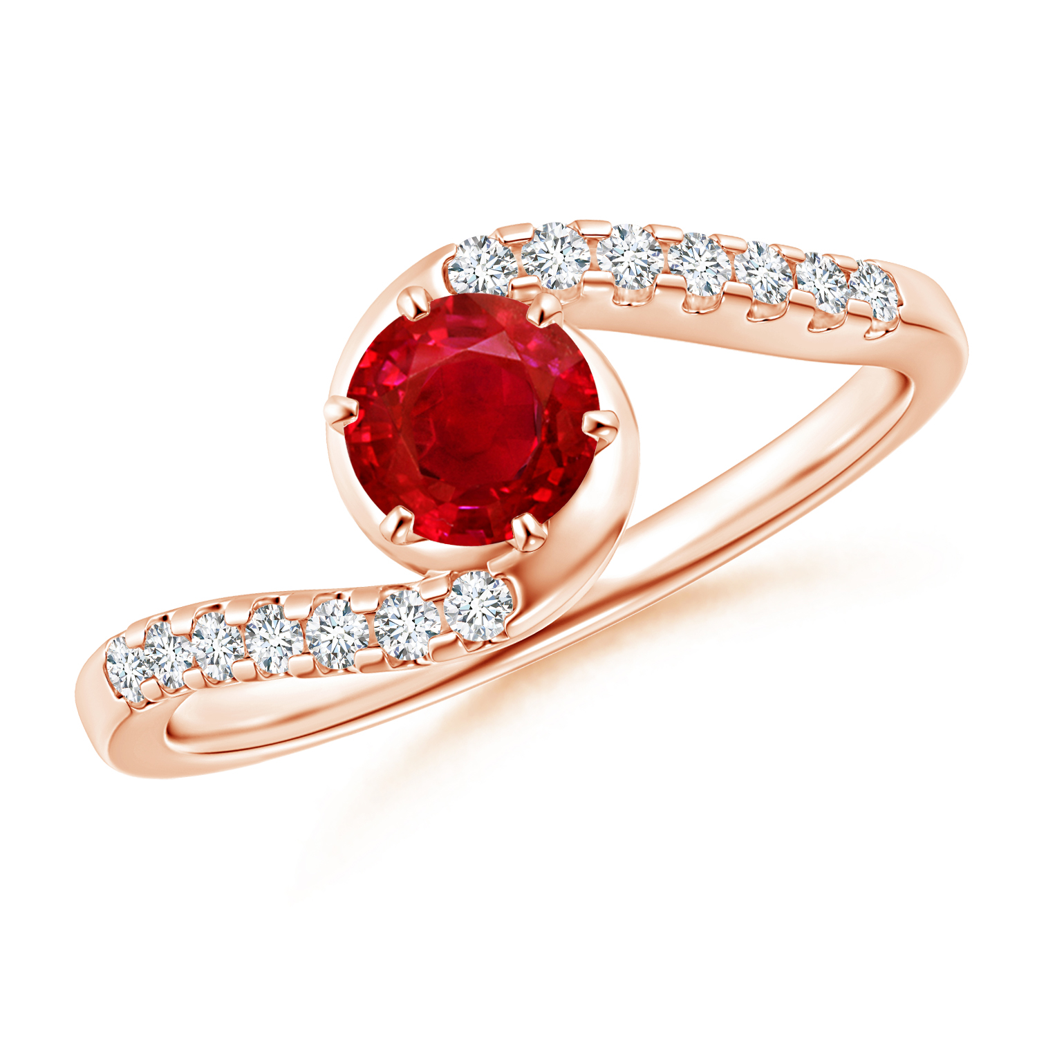 Prong Set Ruby Bypass Ring with Diamond Accents - Angara.com