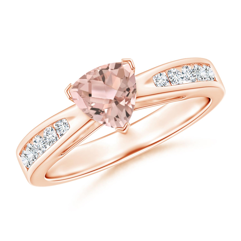 Trillion Morganite Solitaire Ring with Diamond Accents - Angara.com