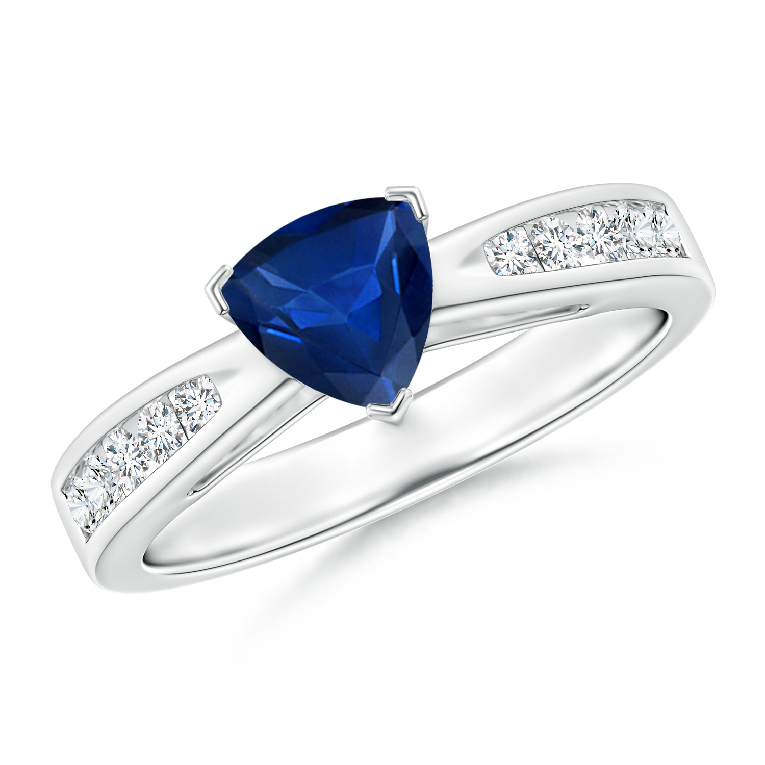 Trillion Blue Sapphire Solitaire Ring with Diamond Accents - Angara.com