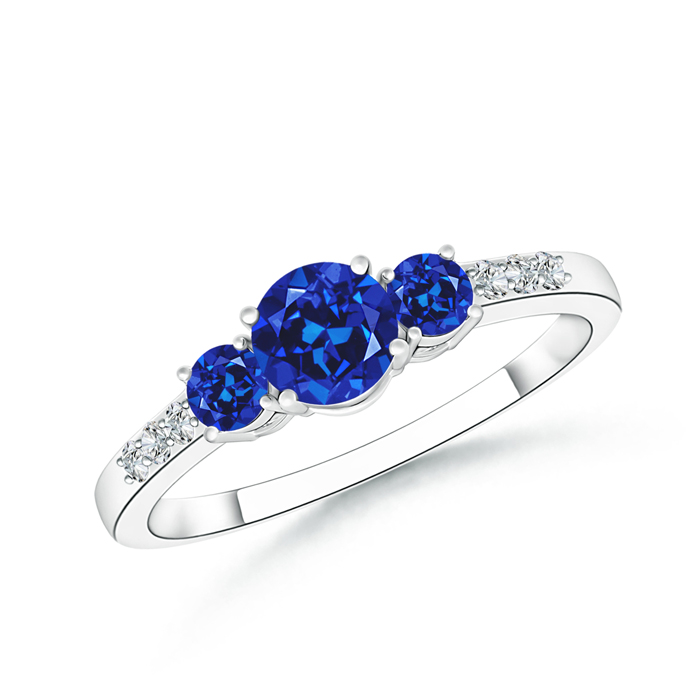 Round Lab Created Sapphire Three Stone Ring with Diamond Accents - Angara.com