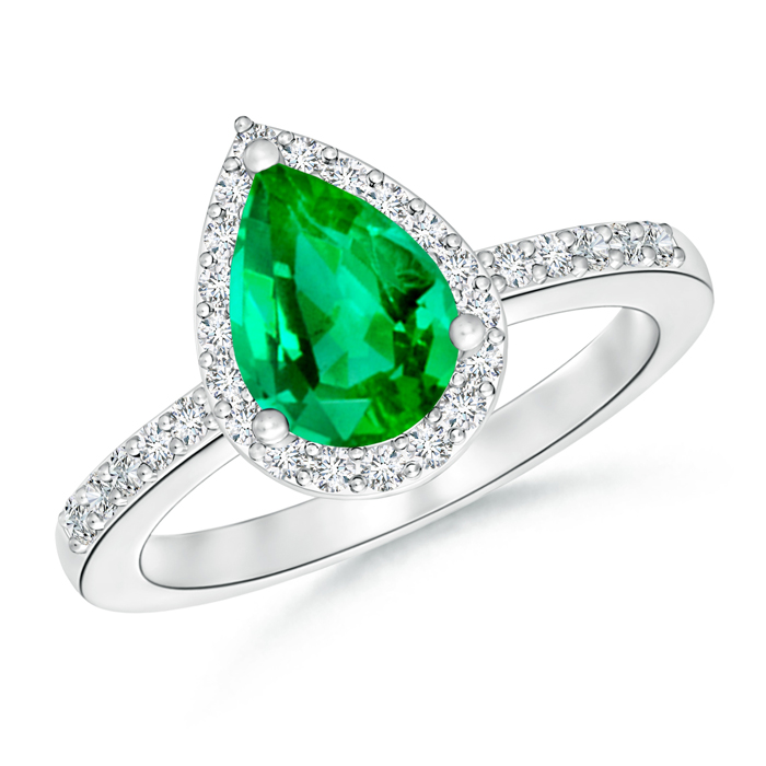 Pear Shaped Emerald Engagement Ring with Diamond Halo - Angara.com