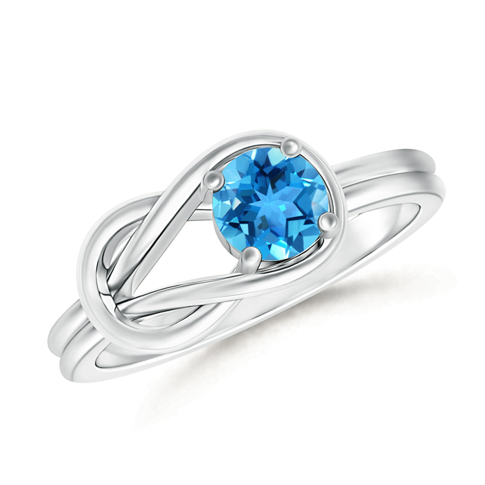 Natural Solitaire Swiss Blue Topaz Infinity Knot Ring - Angara.com