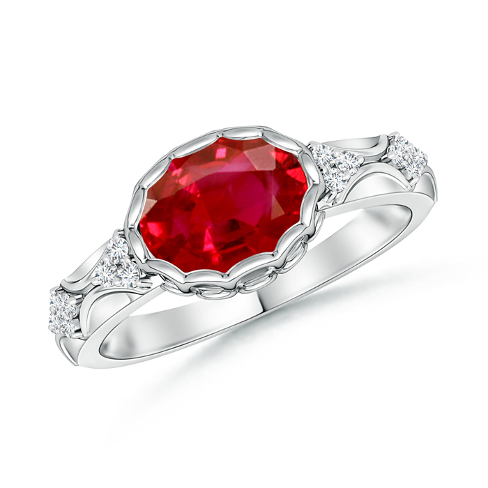 Oval Ruby Vintage Ring with Diamond Accents - Angara.com