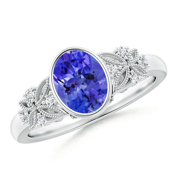 Bezel Set Vintage Oval Tanzanite Ring with Diamond Accents - Angara.com