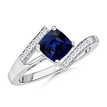 Solitaire Cushion-Cut Sapphire Bypass Ring with Diamond Accents - Angara.com