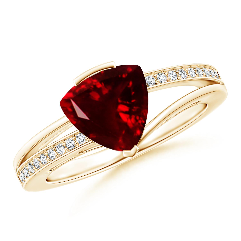 Split Shank Trillion Cut Garnet Ring - Angara.com