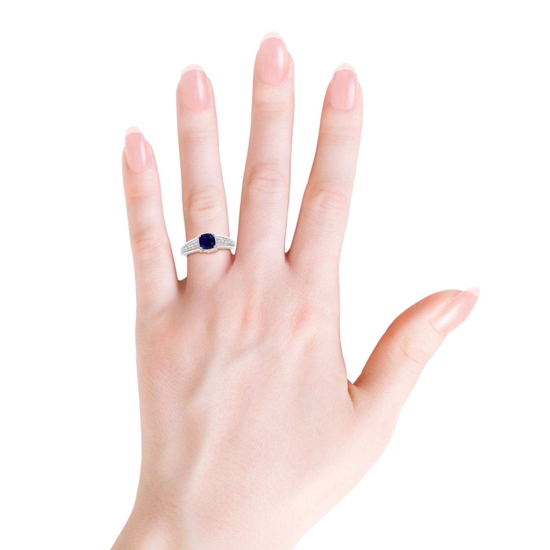 Triple Shank Cushion Cut Sapphire Ring in Two Tone - Angara.com