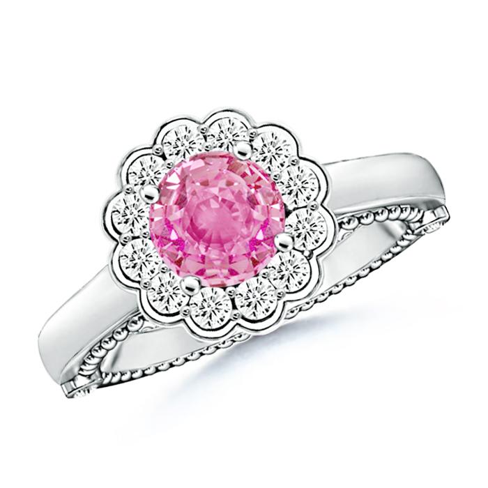 Diamond Halo Vintage Pink Sapphire Flower Ring - Angara.com