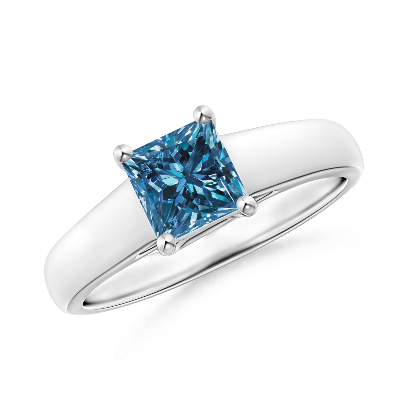 Princess Cut Enhanced Blue Diamond Solitaire Engagement Ring - Angara.com