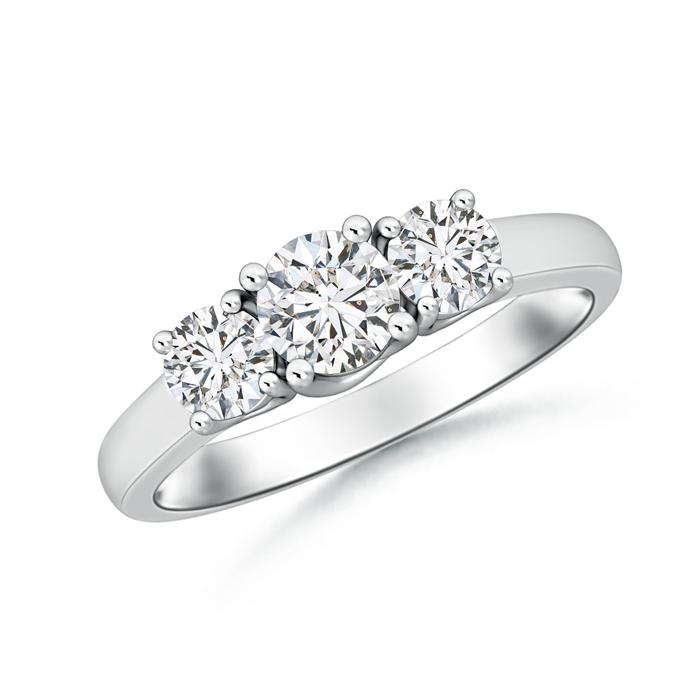 Classic Three Stone Round Diamond Engagement Ring