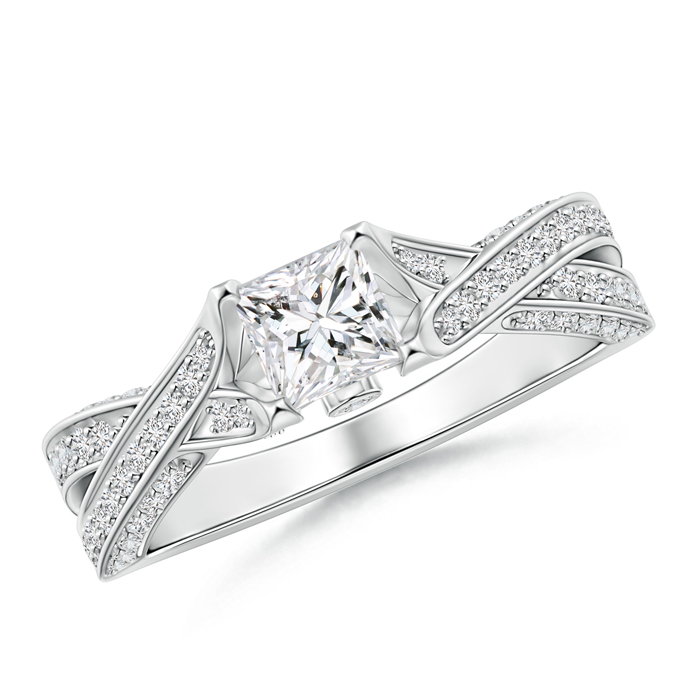 Solitaire Princess Diamond Crossover Engagement Ring