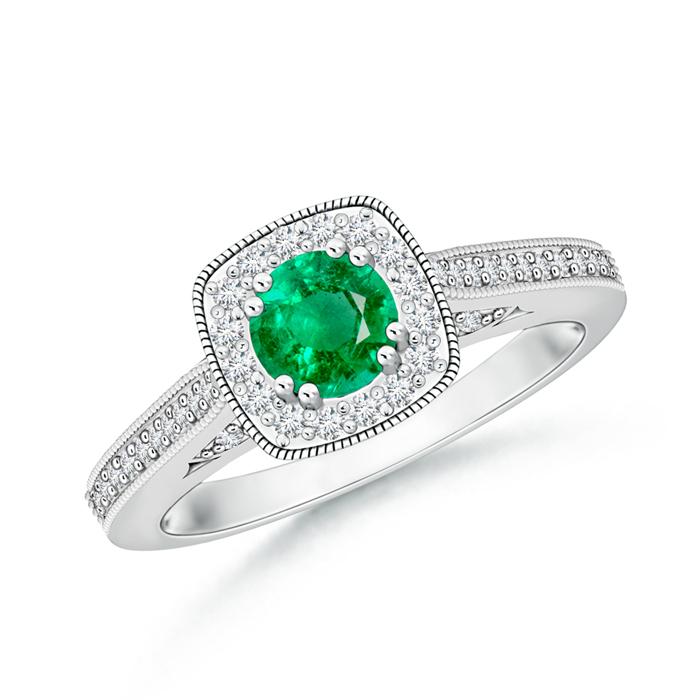 Round Emerald Halo Ring with Cushion Milgrain Detailing - Angara.com