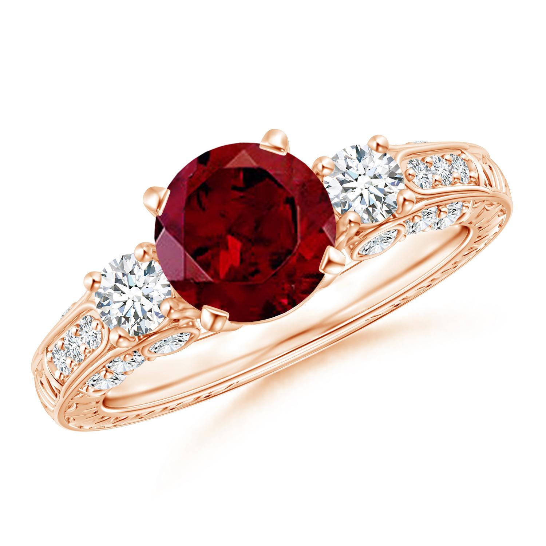 Three Stone Round Garnet and Diamond Ring with Accents - Angara.com