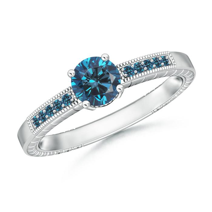 Round Enhanced Blue Diamond Solitaire Ring with Milgrain Detailing - Angara.com