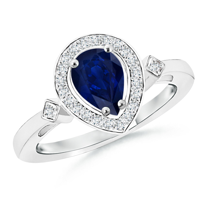 Pear Sapphire Halo Ring with Diamond Accents - Angara.com