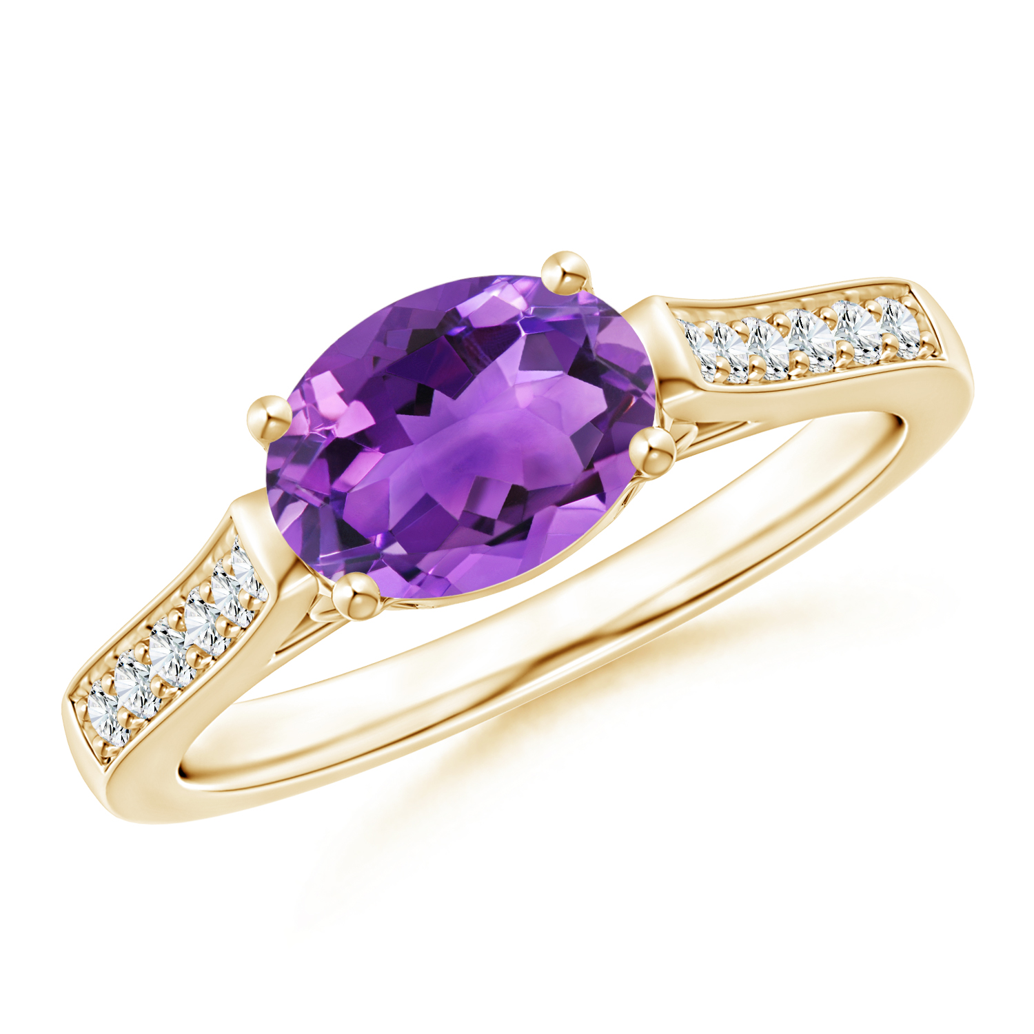 East West Set Oval Amethyst Solitaire Ring with Diamond Accents - Angara.com