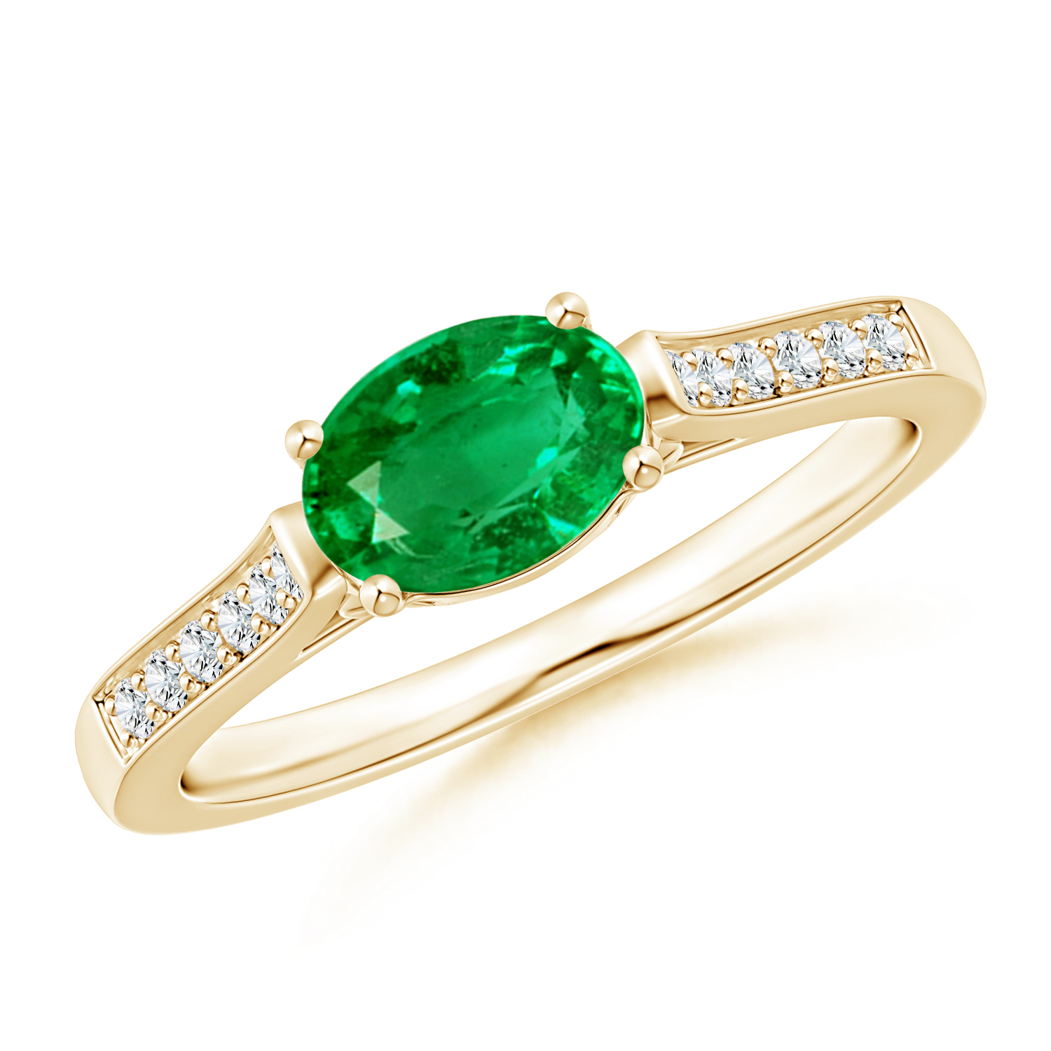 East West Set Oval Emerald Solitaire Ring with Diamond Accents - Angara.com
