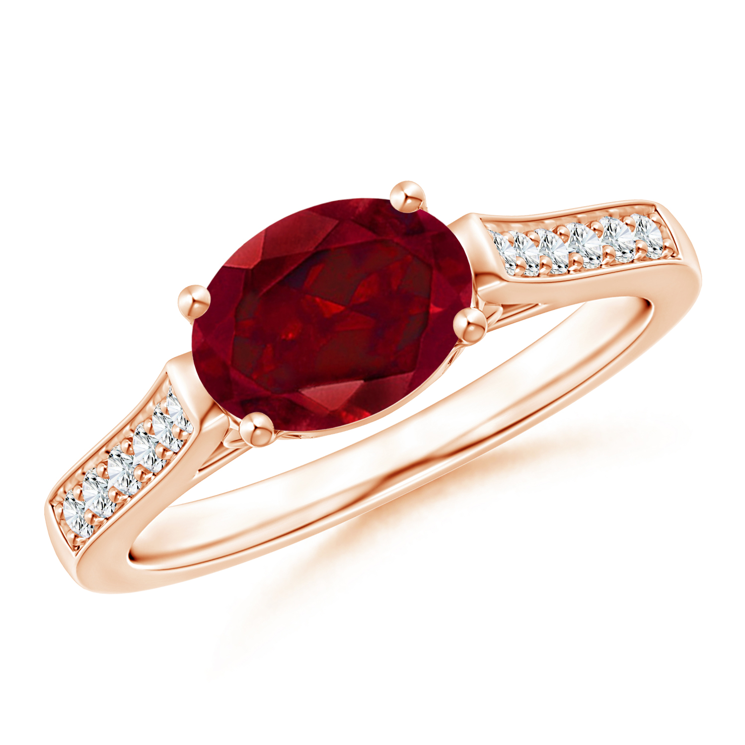 East West Set Oval Garnet Solitaire Ring with Diamond Accents - Angara.com