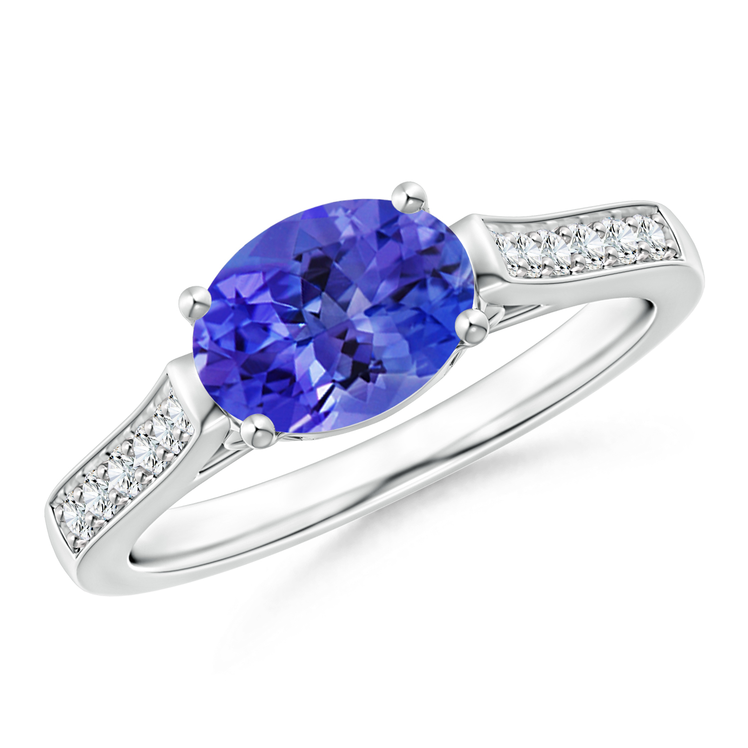 East West Set Oval Tanzanite Solitaire Ring with Diamond Accents - Angara.com