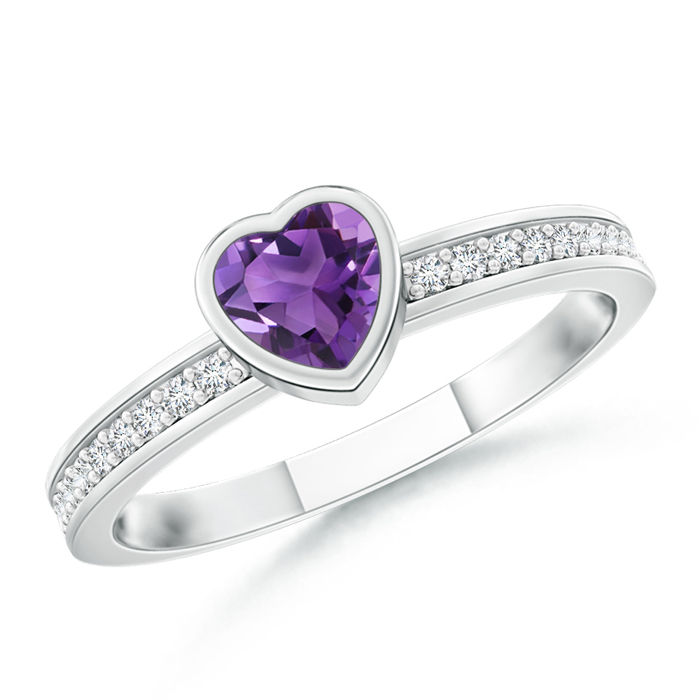 Bezel Heart Amethyst Promise Ring with Diamond Accents - Angara.com