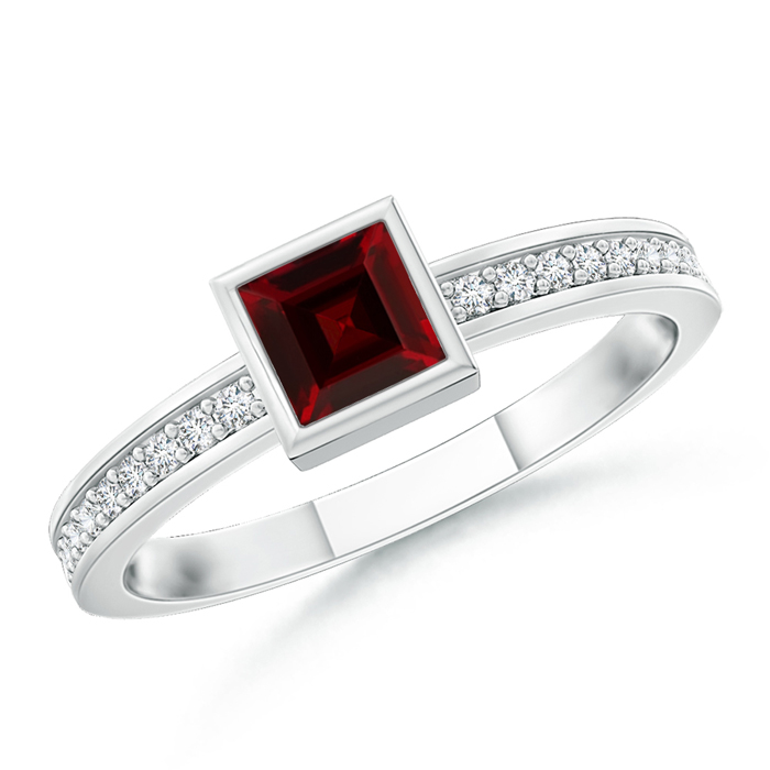 Bezel-Set Square Garnet Stackable Promise Ring - Angara.com