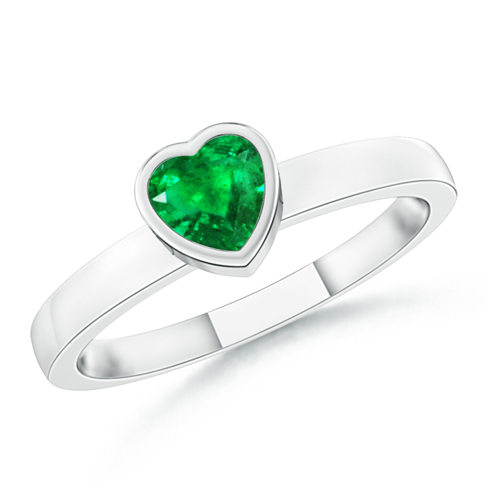 Bezel-Set Solitaire Heart Emerald Promise Ring - Angara.com