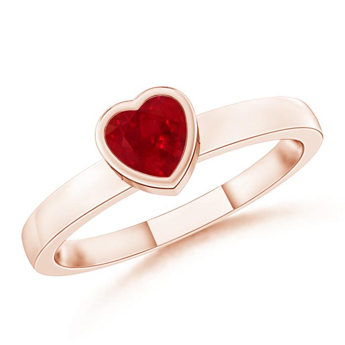 Bezel-Set Solitaire Heart Ruby Promise Ring - Angara.com