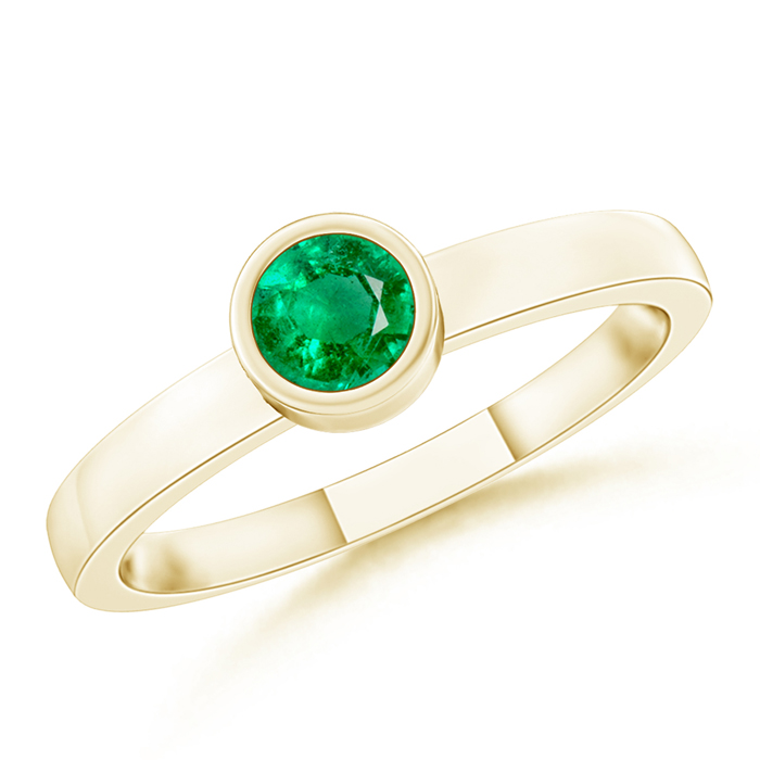 Bezel-Set Solitaire Round Emerald Stackable Ring - Angara.com