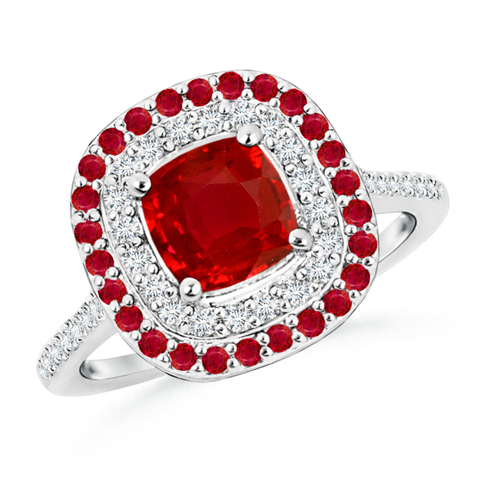 Cushion-Cut Ruby and Diamond Double Halo Ring - Angara.com