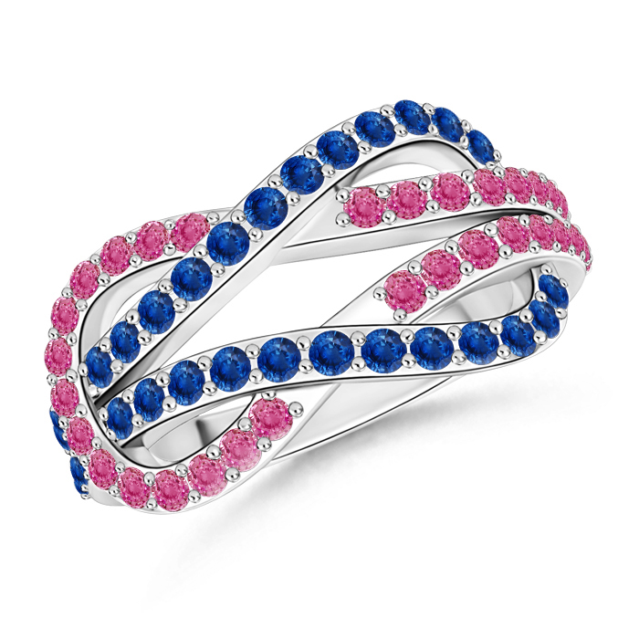 Encrusted Pink and Blue Sapphire Infinity Knot Ring - Angara.com