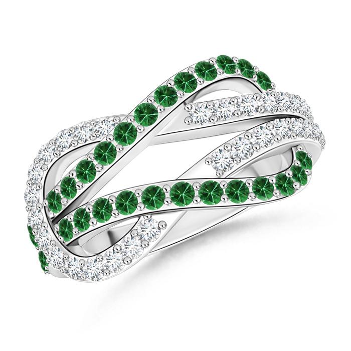 Encrusted Tsavorite and Diamond Infinity Knot Ring - Angara.com