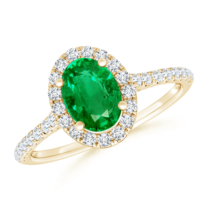 Oval Emerald Halo Ring with Diamond Accents - Angara.com