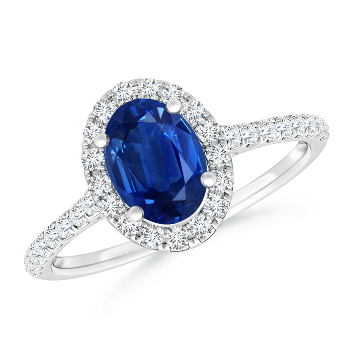 Oval Sapphire Halo Ring with Diamond Accents - Angara.com