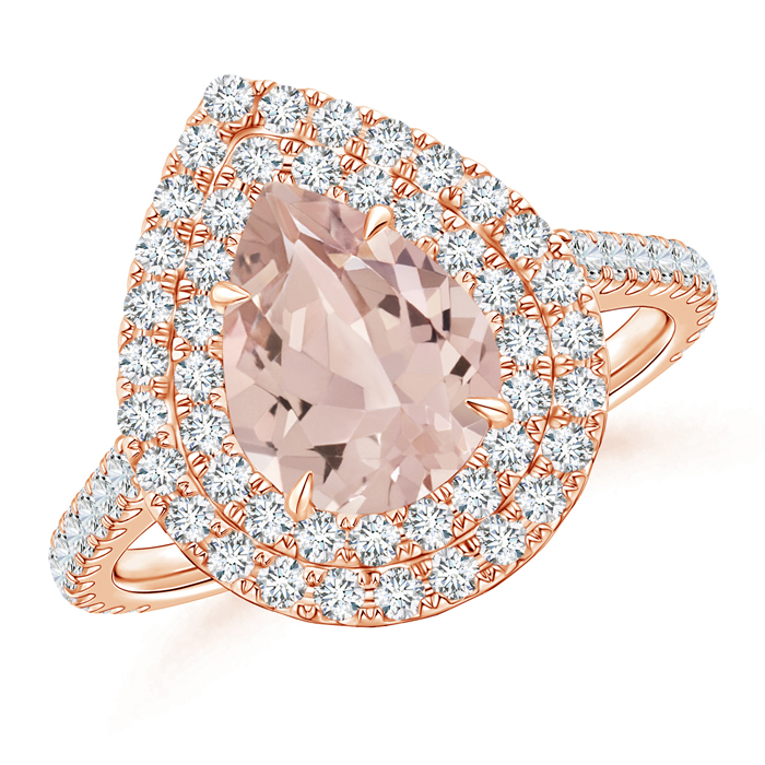 Pear Shaped Morganite Double Halo Ring with Diamond Accents - Angara.com