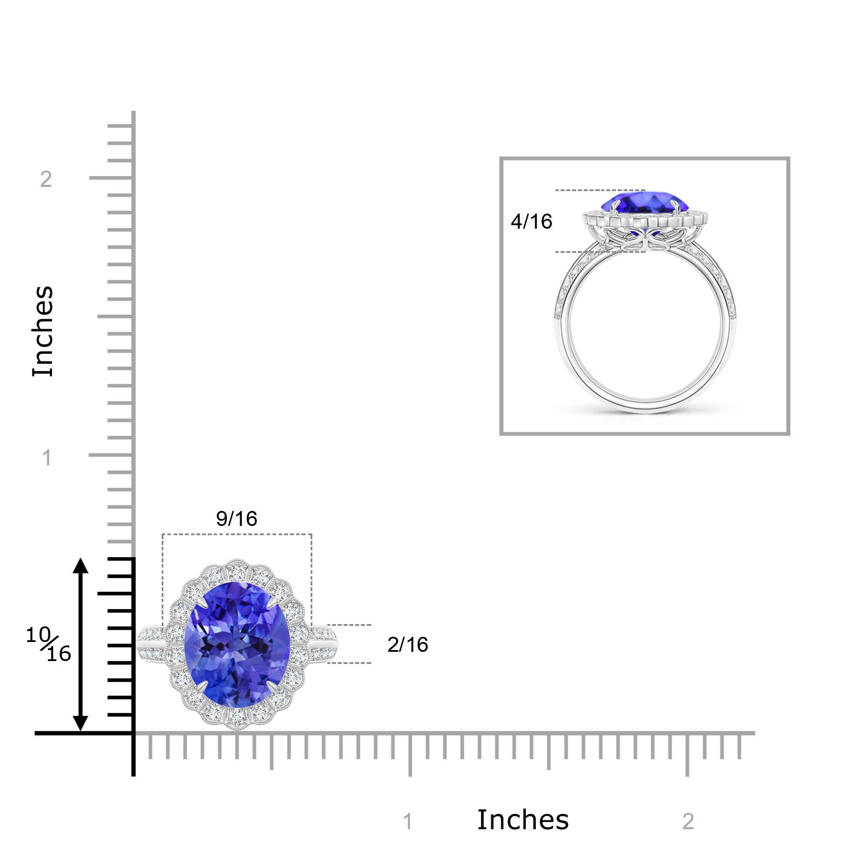 Oval Tanzanite Cocktail Ring with Diamond Halo - Angara.com