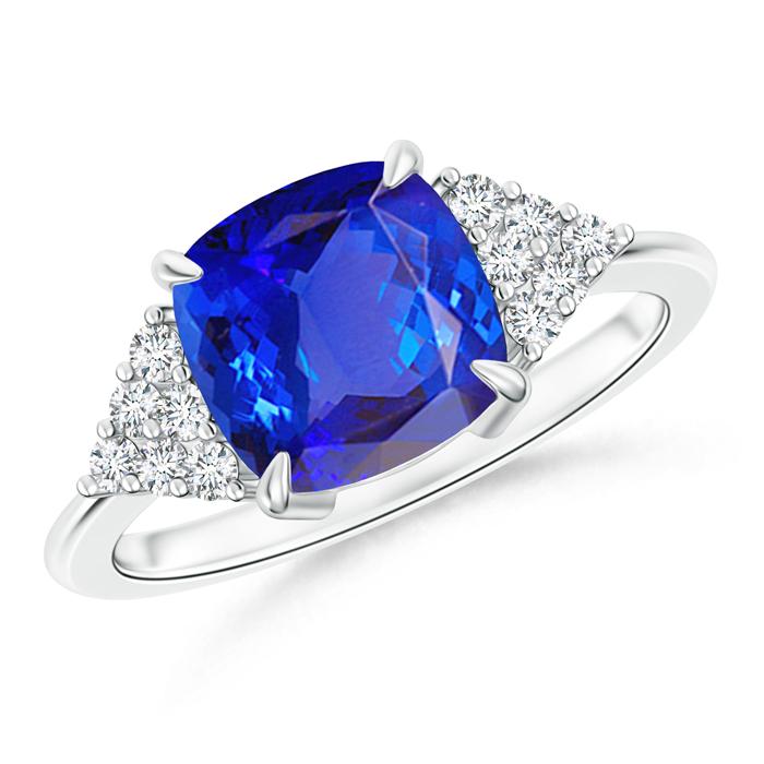 Cushion Cut Tanzanite Ring with Cluster Diamond Accents  - Angara.com