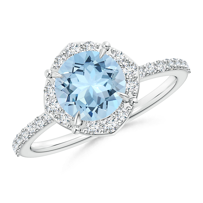 Claw-Set Vintage Diamond Halo Round Aquamarine Ring - Angara.com