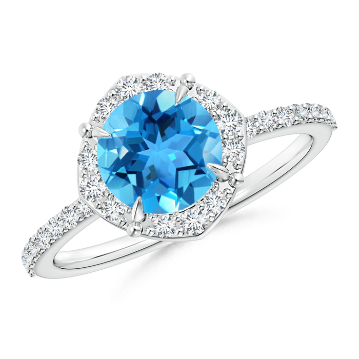Claw-Set Vintage Diamond Halo Round Swiss Blue Topaz Ring - Angara.com