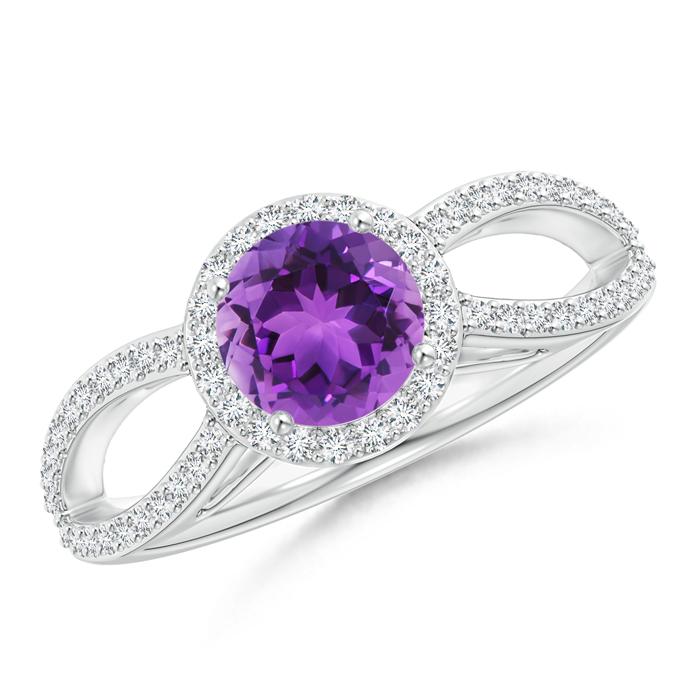 Vintage Split Shank Amethyst Ring with Diamond Halo - Angara.com