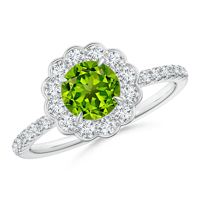 Vintage Peridot Flower Ring with Diamond Accents - Angara.com