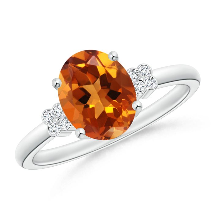 Solitaire Oval Citrine Ring with Diamond Floral Accent - Angara.com