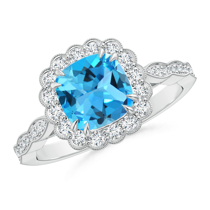 Cushion Swiss Blue Topaz and Diamond Halo Ring with Accents - Angara.com