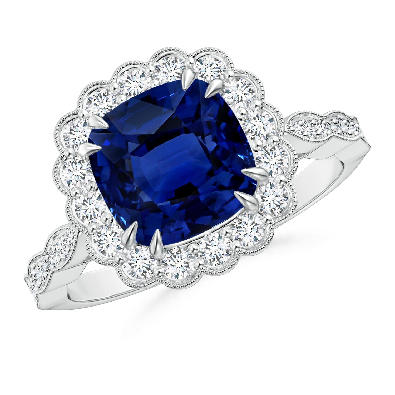 Sapphire Scalloped Halo Ring (GIA Certified Sapphire) - Angara.com