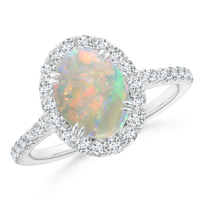 Double Claw Oval Opal Halo Ring with Diamond Accents - Angara.com