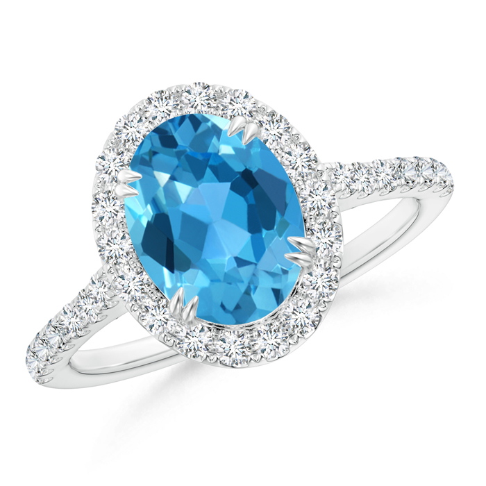 Double Claw Oval Swiss Blue Topaz Halo Ring with Diamond Accents - Angara.com