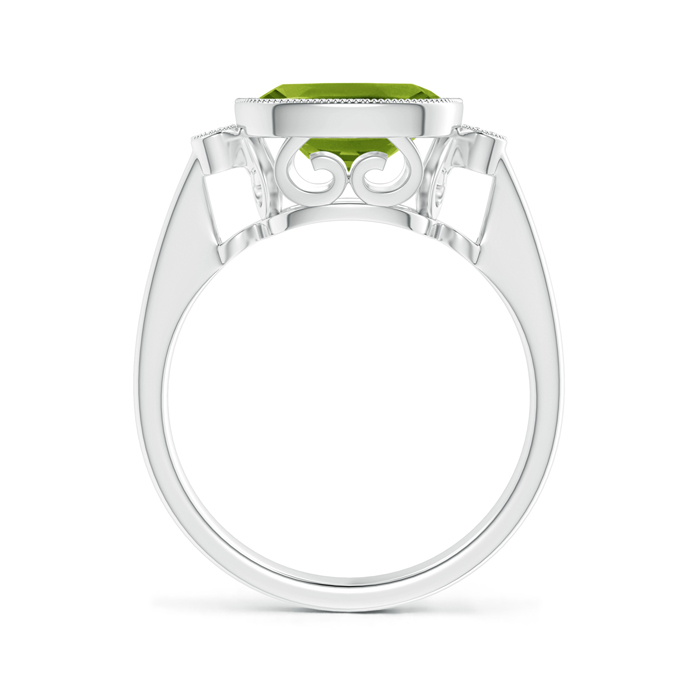 Bezel Set Cushion Peridot Ring with Milgrain Detailing - Angara.com