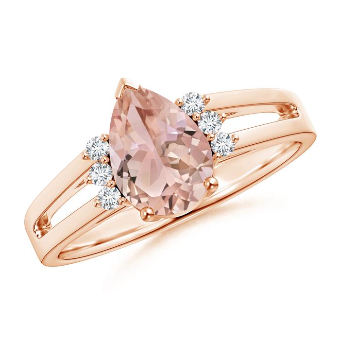Split Shank Pear Morganite Solitaire Ring with Diamonds - Angara.com